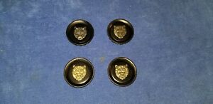 Set Of (4) Jaguar XJS WHEEL CENTER CAPS  (BLACK/ GOLD)