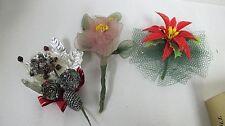 VINTAGE CHRISTMAS CORSAGE PINS (3) FOIL  MESH NETTING PLASTIC POINSETTIA