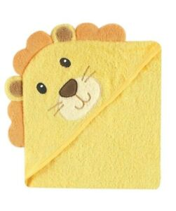 Luvable Friends Unisex Baby Cotton Animal Face Hooded Towel Lion One Size