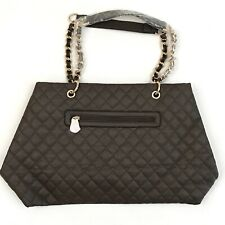 NWT Womens Large Quilted Faux Leather Brown Tote Handbag