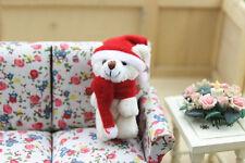 1:12 Toy Miniature Plush Soft Christmas Bear Figure Dolls House Ornament Decor