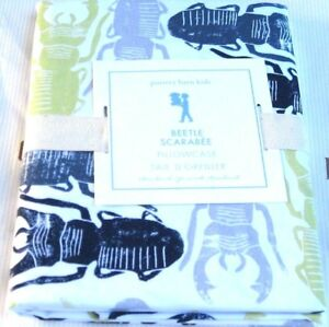 "Pottery Barn Kids BEETLE & BUGS Standard Pillowcase Green Gray Navy 30 x 20"" NEW"