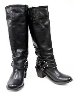 Frye Carmen 77848 Women Black Leather Riding Harness Knee Pull On Boots US 6.5 B