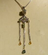 CeS Kette opal. Labradorit, Peridot und Songea Saphir / Safir Jugendstil - Art