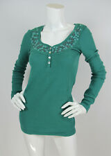 Free People Sz M Thermal Top Green Waffle Knit Embroidered Beaded Long Sleeve