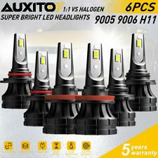 6X Combo 9005 H11 9006 LED Headlight Kit High Low Beam Bulbs 60000LM 6000K Z1-S