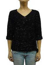 NWT DKNY Womens SEQUIN V-NECK SWEATER 3/4 Sleeve/Drawstring Waistband Black 2X