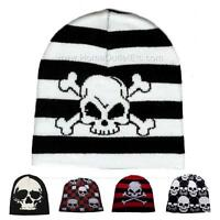 Skull Print Knit Beanie Cap Winter Ski Snow Board Sport Toque Tuque Unisex Women