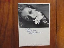 DOROTHY LAMOUR(Died-1996)(Road to Bali)Signed 7 x 9 Black & White Photo/Page
