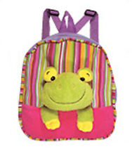 "Backpack 11"" Frog Head Plush Pink Purple Stripes New"