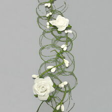 Roses Berries Garland, Cream 6cm Wide, 1 Meter / Top