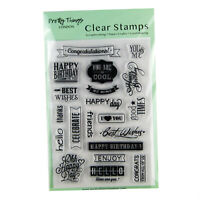 Clear Stamps Sentiments Words Set Special Occasions Versatile 20 Stamps Banners