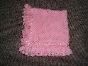 BABY PINK CROCHET  40 INCH. HANDMADE BABY BLANKET, REBORN, NEW BABY, SHAWL,