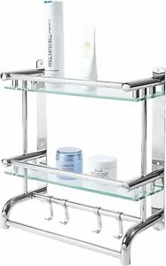MyGift 2 Tier Stainless Steel Bathroom Wall Rack with 2 Towel Bars and Hooks