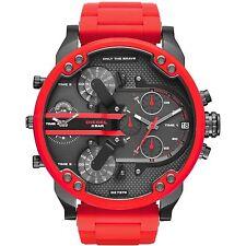 DIESEL Mr. Daddy 2.0 Gunmetal Dial Quartz Red Silicone Strap Men's Watch DZ7370