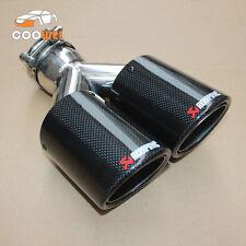 1PCS: ID:63mm OD:101mm Akrapovic Glossy Carbon Fiber Universal Dual Exhaust Tip