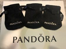 3 Pandora Gift Bag Black Velvet Jewelry Pouch Charms Rings Earrings Anti Tarnish