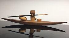 RARE Arne Tjomsland Mid-Century Modern TEAK Eskimo Hunter Canoe Carving NORWAY