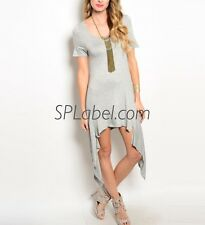 New Women Gray Shark Bite Top Tunic Dress Size S