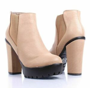 Taupe Faux Leather Formal Slip On Only Chunky Heels Womens Ankle Boots Size 8