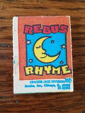 Vintage Cracker Jack Rebus Rhyme Game 1970s FREE shipping!