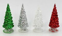 2x 15cm Christmas Tree w Flashing Lights Glitter Stand Home Party Decoration