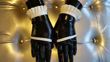 New latex medium rubber maids gloves short length guantlets cuffs gummi sissy