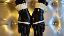 New latex medium rubber maids gloves short length guantlets cuffs gummi sissy