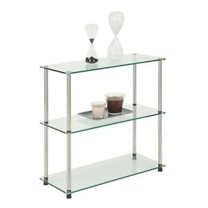 Convenience Concepts Designs2Go Classic Glass 3 Shelf Bookcase, Glass - 157002