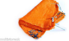 100 SACCHI Netto Arancione 40cm x 60cm/15kg Mesh Sacchi legna da bruciare i registri patate Cipolle