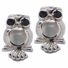 Pair of OWL STUD EARRINGS 925 Sterling SILVER and MOTHER Of PEARL 15mm : Bird