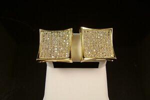 MEN'S BRAND NEW GOLD FINISH DIAMOND SIMULATE XXL KITE SQUARE STUD EARRINGS 15MM