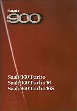 SAAB 900 TURBO, 900 TURBO 16, 900 TURBO 16S  Brochure 1985 UK Postfree