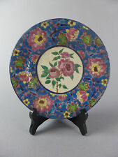 EMAUX DE LOUVIERE ENAMELLED CERAMIC PLATE PINK ROSE FLOWERS HAND MADE AND PAINT