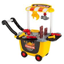 Kids Play Pretend Toy Tool Set Workbench Construction Workshop Storage Trolley