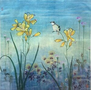 Asian Art - Authentic Signed Chinese Painting Prints on Rice Paper 54cm x 54cm