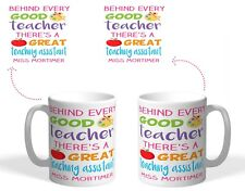 Personalised Printed Mug, teaching assistant Christmas gift behind teacher quote