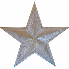 Shiny White Silver Star Iron On Patch Sew On Badge Embroidered Clothes Applique