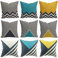 Cotton Linen Cushion Cover Sofa Bed Home Decor Throw Geometric Waist Pillow Case