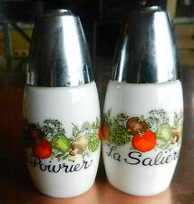 RETRO Gemco MILKGLASS Westinghouse Veggie Salt & Pepper Shakers-Poivrier-Saliere