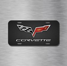 Chevy chevrolet Corvette Stingray Vehicle License Plate Front Auto Tag Carbon