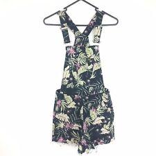 Lee Overalls Women's 6 XS Denim Shorts Floral Leaf Pattern Tropical Print GUC
