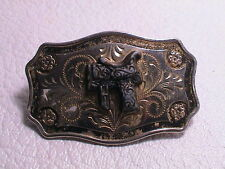 WESTERN THEME HORSE SADDLE W/ FLORAL & HEART DESIGN CHROME METAL BELT BUCKLE