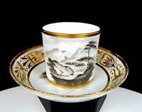 "SPODE #558 BAT TRANSFER PRINTED BUTE SHAPE GILDED SCROLL 2.5"" CUP & SAUCER 1779-"