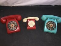 Vintage Ideal & Lorain Plastic Toy Rotary Dial Telephone LOT of 3