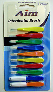 AIM Interdental (10) Brushes w/2 Travel Caps Plaque Braces Bridges All Ages NIP