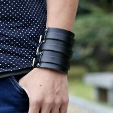 1pc Black Punk Rock Wide Leather Belt Buckle Men Bangle Cuff Bracelet Wristband