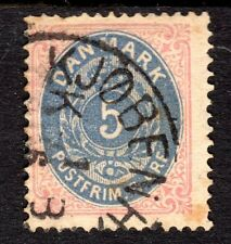 Denmark - 1875 Definitive numeral - Mi. 24 A FU (Pulled perf., some toning)