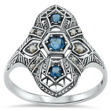 ANTIQUE DECO STYLE GENUINE LONDON BLUE TOPAZ .925 SILVER RING SIZE 6.75,    #140