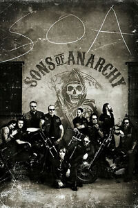 Sons Of Anarchy - TV Show Poster (The Gang - Vintage / Retro Design)